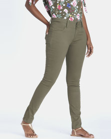 Contempo Fashion Trousers With Zips Khaki
