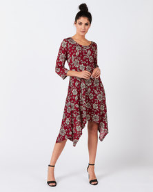 Revenge Flared Printed Dress Red