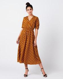 Revenge Dot Midi Dress Mustard
