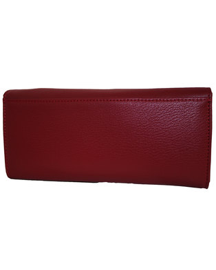 Fino PU Leather Gold Magnetic Closure Purse with Box-Red