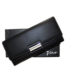 Fino PU Leather Gold Magnetic Closure Purse with Box-Black