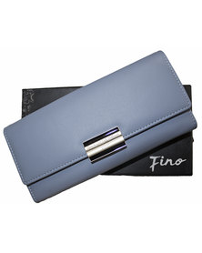 Fino Flap Over PU Leather Purse with Box-Blue