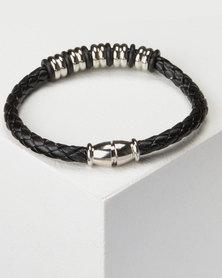 Joy Collectables Mens Braided Bracelet Black/Silver