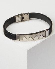 Joy Collectables Men's Strap Bracelet Black/Silver
