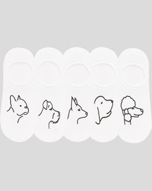 Joy Collectables 5PK Dogs Secret Socks White