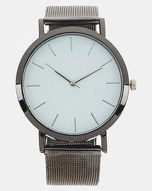 Joy Collectables Minimal Round Mesh Strap Watch White/Silver