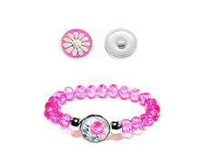 Urban Charm Snap Creations Crystal Bead Bracelet Set - Pink Rose