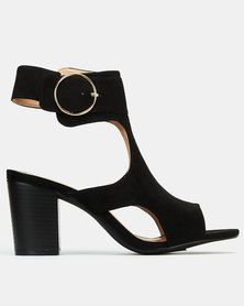 Queenspark High Heel Ankle Strap With Bug Buckle Black