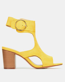 Queenspark High Heel Ankle Strap With Bug Buckle Yellow