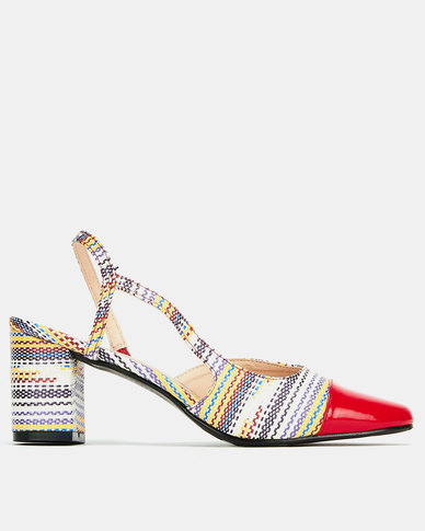 Queenspark Patent & Straw Slingback Heels Red
