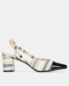 Queenspark Patent & Straw Slingback Heels Black