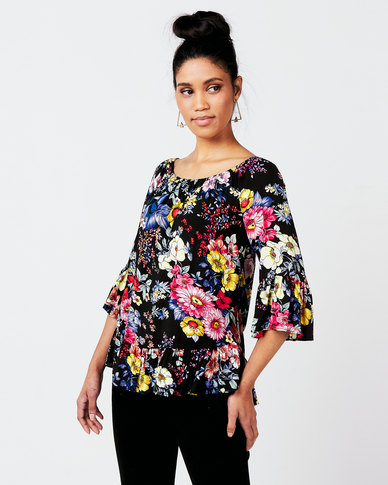 Queenspark Bright Floral Marilyn Woven Blouse Multi