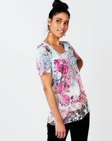 Queenspark Floral Printed Burnout Fashion Knit Top Blue