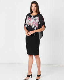 Queenspark Placement Print Overlay Knit Dress Black