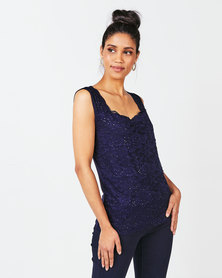 Queenspark Lace Diamante Knit Top Navy