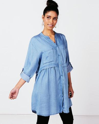 Queenspark Private Label Tencel Woven Mandarin Tunic Blue
