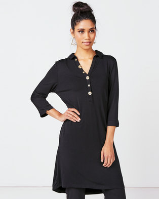 Queenspark Private Label  Knit Tunic With Button & Pocket Detail Black