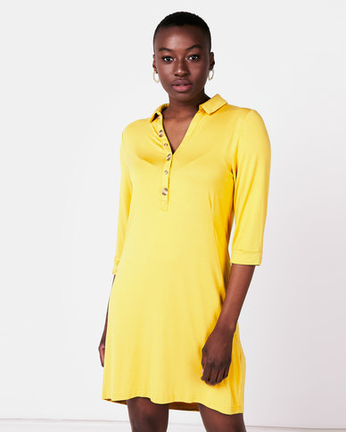 Queenspark Private Label Knit Tunic With Button & Pocket Detail Mustard