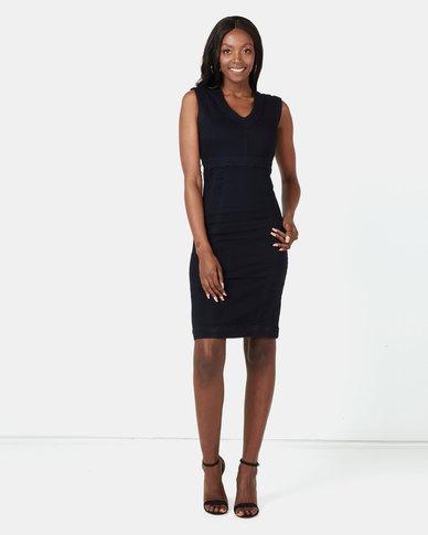 cath.nic By Queenspark Bodycon Denim Knit Dress Indigo