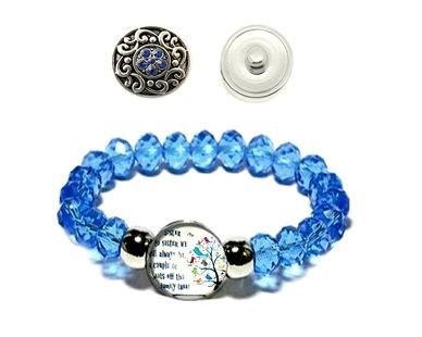 Urban Charm Snap Creations Crystal Bead Bracelet Set - Blue - Sister