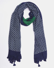 Queenspark Border Print Poly Scarf Navy