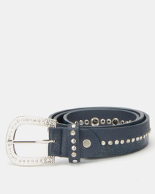 Queenspark Split Detail Animal Belt Navy