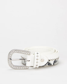 Queenspark Split Detail Animal Belt White