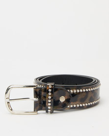 Queenspark Patent Animal Stud Belt Chocolate
