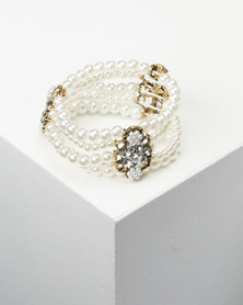 Queenspark White 3 Row Diamante And Pearl Wristwear