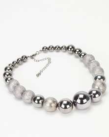 Queenspark Shiny Glitter Balls Necklace Pewter