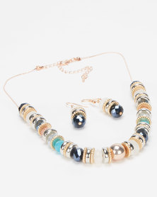 Queenspark Necklace With Earrings Multi