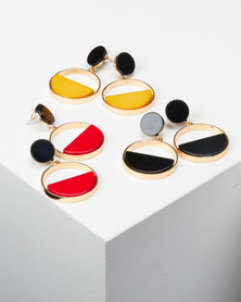 Queenspark Bright Disc Ring Earrings Multi