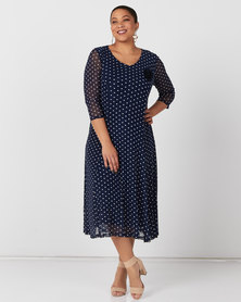 Queenspark Plus Collection Printed Spot Mesh Knit Dress & Flower Navy