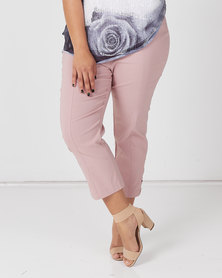 Queenspark Plus Collection New Diamante Trim Stretch Woven Capri Pink