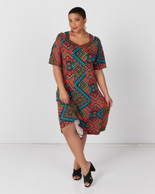 Queenspark Plus Collection Shoulder Detail Flared Knit Dress Multi