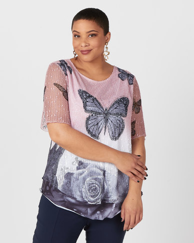 Queenspark Plus Collection New Big Butterfly Fancy Mesh Knit Top Pink