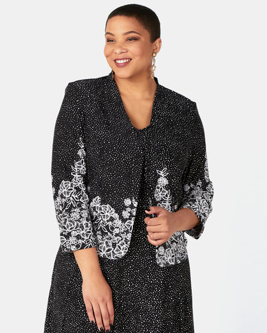 Queenspark Plus Collection Floral Border Spot Printed Knit Jacket Black/White
