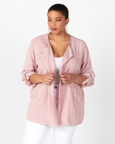 Queenspark Plus Collection Soft Tencil Soft Woven Jacket Pink