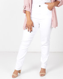 Queenspark Plus Collection Beaded Pocket Denim Jeans White
