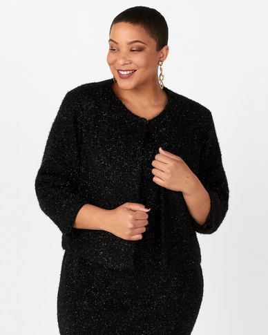 Queenspark Plus Collection 3/4 Sleeve Knit Jacket Black
