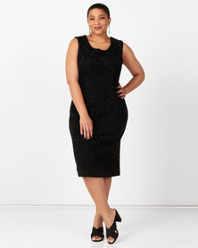 Queenspark Plus Collection Sleeveless Boucle Knit Dress Black