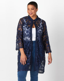Queenspark Plus Collection Mandarin Scallop Lace Woven Jacket Navy