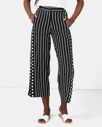 Miss Cassidy By Queenspark Side Tape Stripe Woven Slacks Black/White
