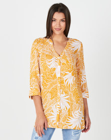 Miss Cassidy By Queenspark Leaf Print Woven Shirt  Mustard