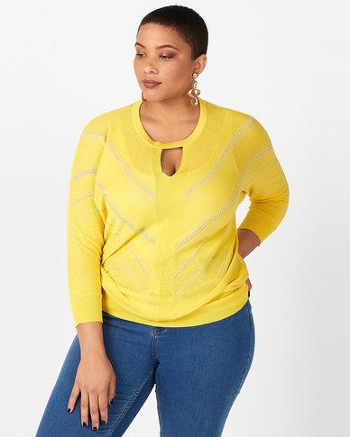 Miss Cassidy By Queenspark Key Hole Neckline Knitwear Yellow