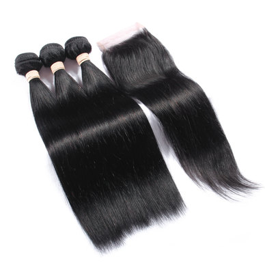 BLKT 24 inches 12A Brazilian Straight Weaves x3 Bundles and Free Closure