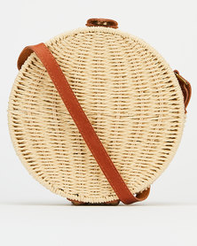 Joy Collectables Structured Circle Straw Crossbody Bag Natural