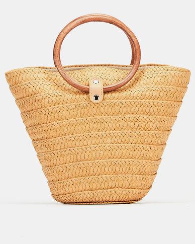Joy Collectables Circle Handle Bucket Bag Tan