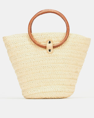 Joy Collectables Circle Handle Bucket Bag  Natural