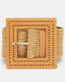 Joy Collectables Square Buckle Stretch Belt Natural